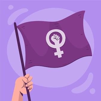 Hand getekend feministische vlag
