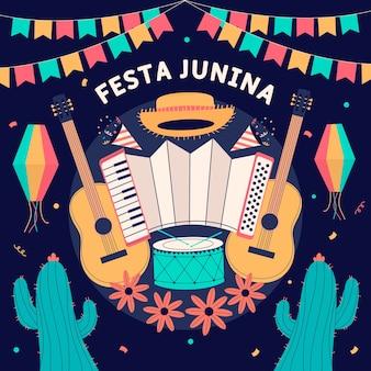 Hand getekend festa junina achtergrond met muziekinstrumenten