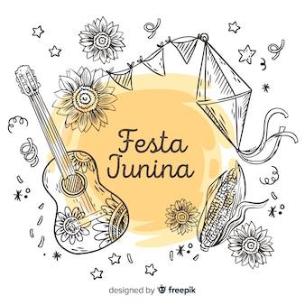 Hand getekend festa junina achtergrond