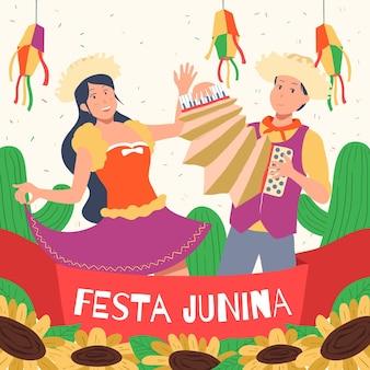 Hand getekend festa junina concept