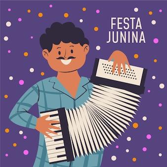 Hand getekend festa junina illustratie met man