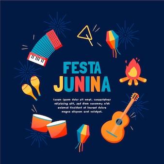 Hand getekend festa junina illustratie