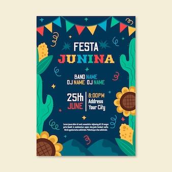 Hand getekend festa junina verticale poster sjabloon