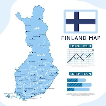 Hand getekend finland kaart infographic