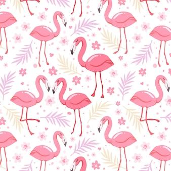 Hand getekend flamingo patroon met bladeren