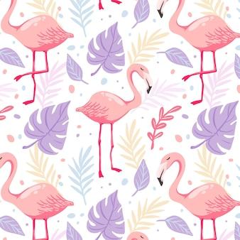 Hand getekend flamingo patroon met tropische bladeren