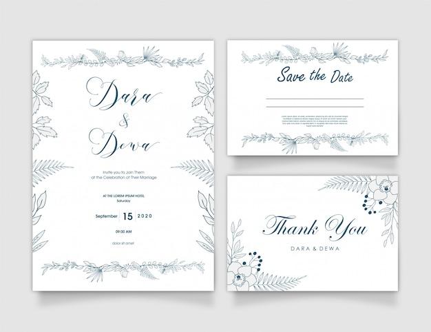 Hand getekend floral bruiloft uitnodiging ontwerp