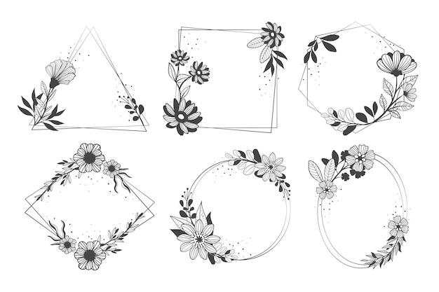 Hand getekend floral frame-collectie op witte achtergrond