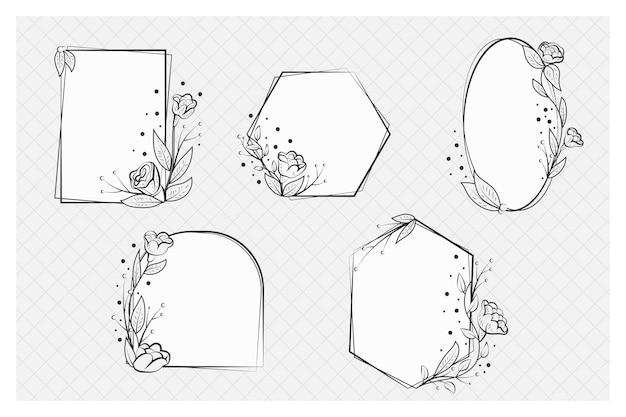 Hand getekend floral frame-collectie Gratis Vector