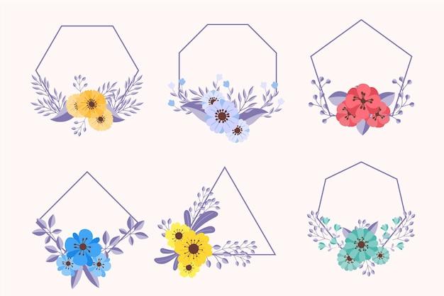 Hand getekend floral frame-collectie