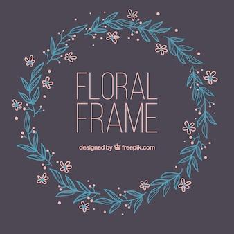 Hand getekend floral frame met cirkelvormig ontwerp
