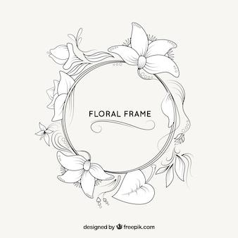 Hand getekend floral frame ontwerp