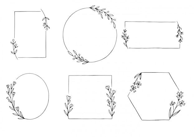 Hand getekend floral frame set