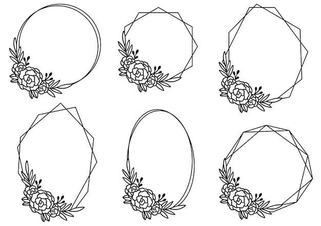 Hand getekend floral frame sjabloon