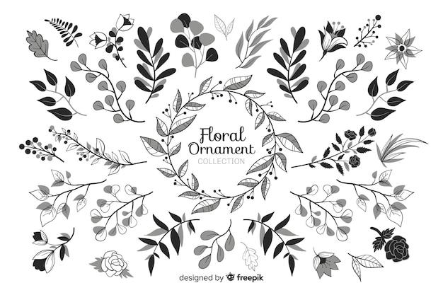 Hand getekend floral sieraad set
