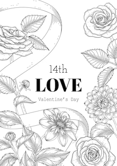 Hand getekend floral valentijnsdag achtergrond.