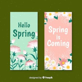 Hand getekend floral voorjaar banner