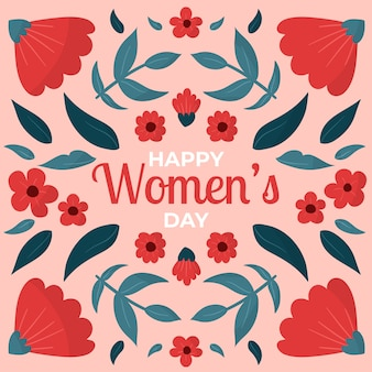 Hand getekend floral vrouwendag