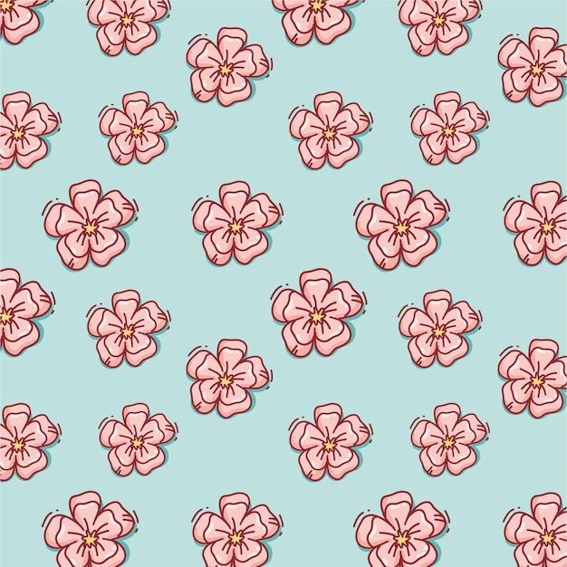 Hand getekend flowerspring roze patroon