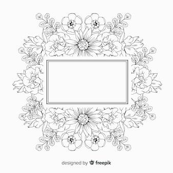 Hand getekend frame met bloemmotief op witte achtergrond