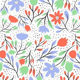 Hand getekend gedrukte veldboeket patroon