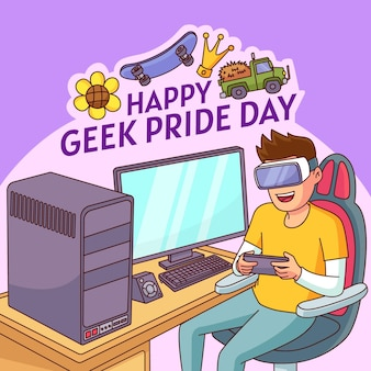 Hand getekend geek pride-dag illustratie