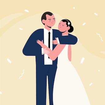 Hand getekend geïllustreerd bruidspaar