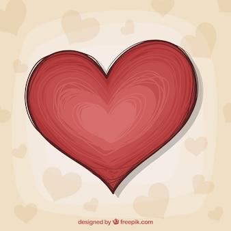 Hand getekend geïsoleerde hart achtergrond