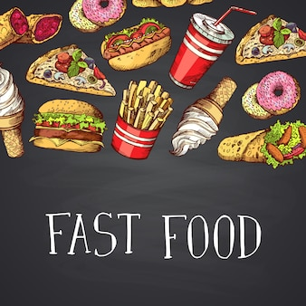 Hand getekend gekleurde fastfood-elementen met letters op schoolbord