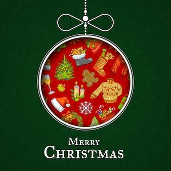 Hand getekend gekleurde kerst elementen met santa