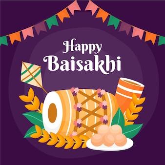 Hand getekend gelukkig baisakhi concept