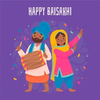 Hand getekend gelukkig baisakhi illustratie van man en vrouw