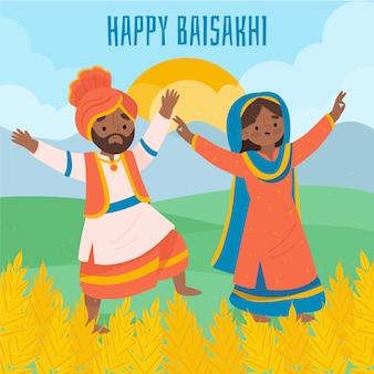 Hand getekend gelukkig baisakhi illustratie van vrouw en man