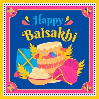 Hand getekend gelukkig baisakhi illustratie