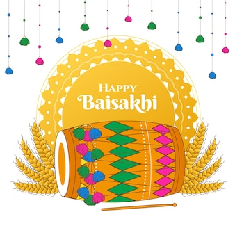 Hand getekend gelukkig baisakhi