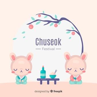 Hand getekend gelukkig chuseok achtergrond