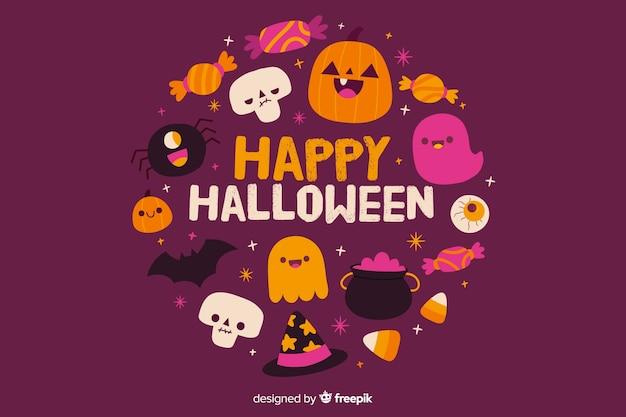 Hand getekend gelukkig halloween achtergrond