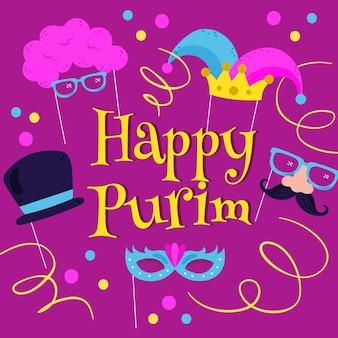 Hand getekend gelukkig purim dag illustratie met viering elementen