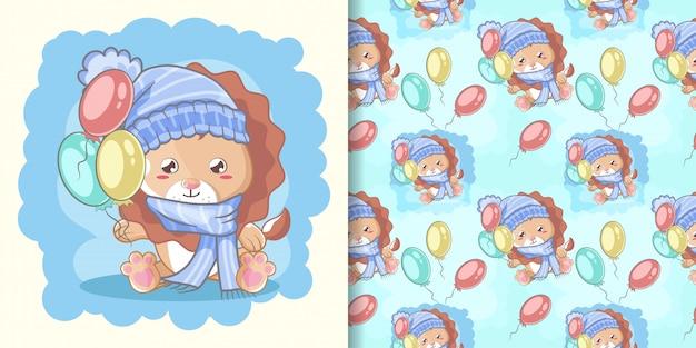 Hand getekend gelukkig schattige leeuw met ballonnen en patroon ingesteld