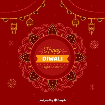 Hand getekend gelukkige diwali feestelijke achtergrond