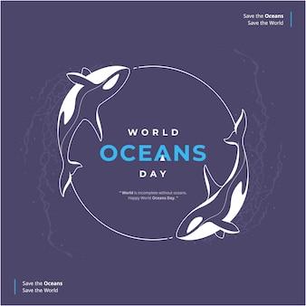 Hand getekend gelukkige oceanen dag illustratie