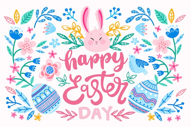 Hand getekend gelukkige paasdag eieren en konijn