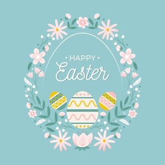 Hand getekend gelukkige paasdag eieren en krans van bloemen