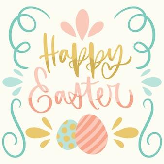 Hand getekend gelukkige paasdag eieren en linten