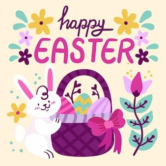 Hand getekend gelukkige paasdag met de natuur en het konijntje