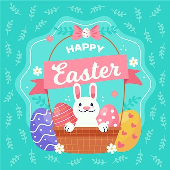 Hand getekend gelukkige paasdag met mand en konijn