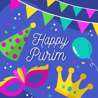 Hand getekend gelukkige purim dag elementen vieren