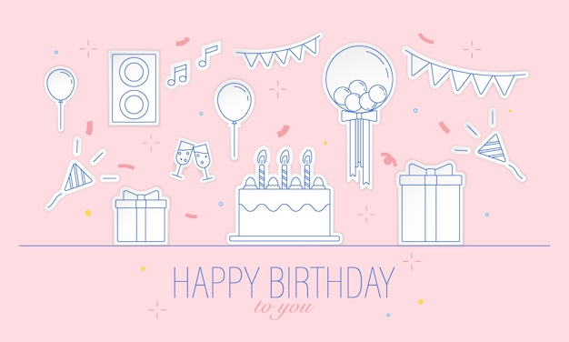 Hand getekend gelukkige verjaardag dag partij illustratie op roze achtergrond