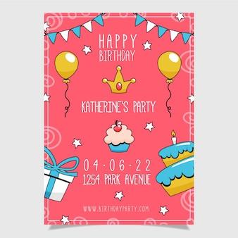 Hand getekend gelukkige verjaardag poster sjabloon