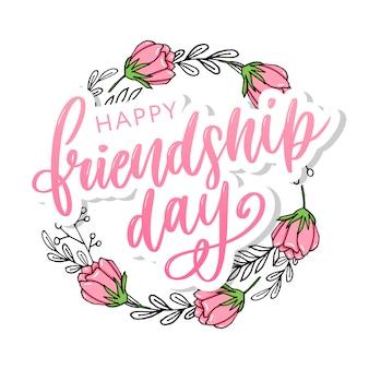 Hand getekend gelukkige vriendschap dag felicitatie met belettering tekst teken en kleur grunge effect.